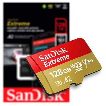 Sandisk 128GB SD micro (SDXC Class 10) with Extreme UHS-I V30 memory card adapter