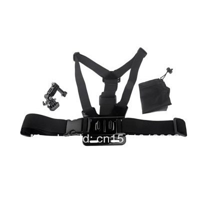 Chest strap for sports camera with mounting bracket and support bag